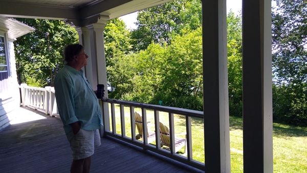 Mark Pensive on Porch in Bar Harbor